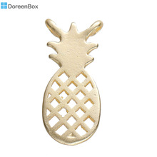 "Doreen Box Zinc Based Alloy Connectors Findings Pineapple /Ananas Fruit Light Golden Hollow 16mm( 5/8"") x 7mm( 2/8""), 3 PCs"