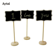 Aytai 60pcs Wooden Blackboard Table Number Holders Wedding Place Number Stands Party Direction Signs Event Party Supplies