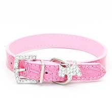 1PCS Crystal Pendant Pet Dog Collar Puppy Cat Pet Buckle Dogs Leads Neck Strap PU Leather Animal Pet Accessories For Small Dogs(China)