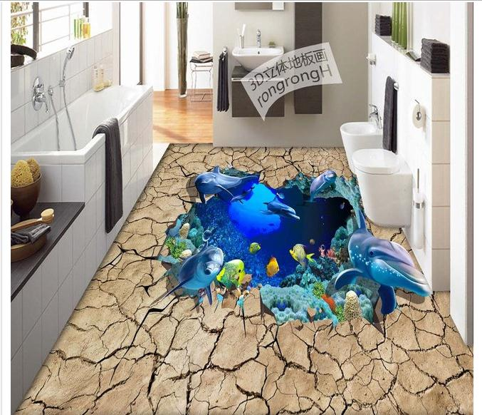Customized 3d wallpaper 3d pvc floor painting murals 3D three-dimensional ocean floor to draw pictures room decoration<br>
