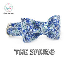 the spring flower dog  collar  with bow tie  adjustable buckle  cotton fabric  dog &cat necklace  for pet supplies