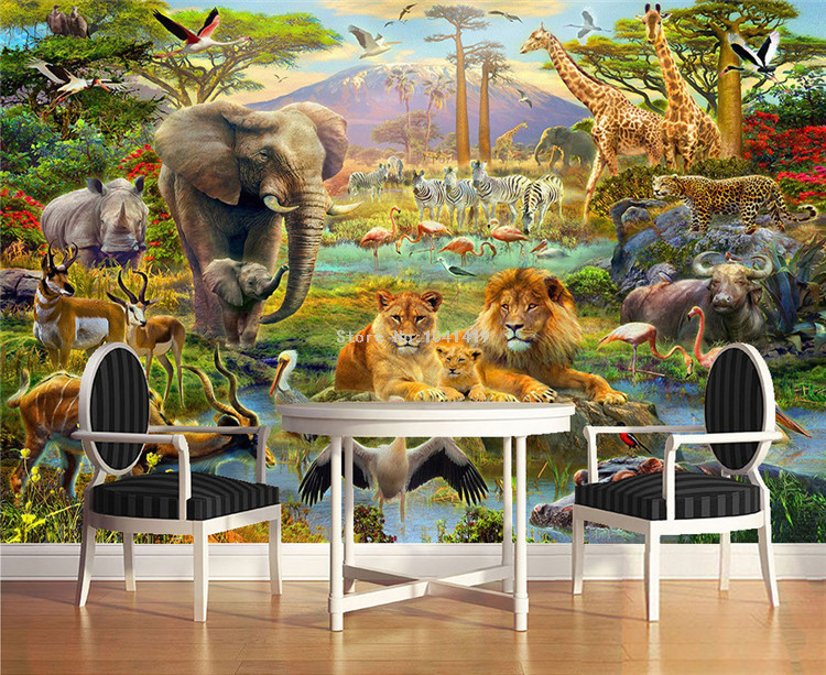 HTB1swFgSVXXXXXWaFXXq6xXFXXXT - Custom Mural Wallpaper 3D Children Cartoon Animal World Forest Photo Wall Painting Fresco Kids Bedroom Living Room Wallpaper 3 D