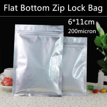 Free Shipping 500pcs/lot Small 6cm*11cm 200micron Aluminum Foil Zip Lock Packaging Bag Spice/Powder/Feeds/Snack Zip Bag
