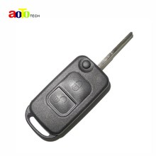 With Sticker Uncut Blade Key Case For 2 Buttons Mercedes For Benz A C E S Flip Folding Remote Key Shell 2 Track HU64 Blade