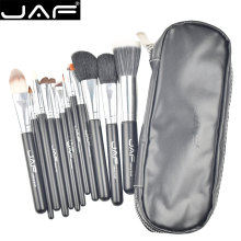 JAF 12pcs High Quality Make Up Brush Set Leather Case with Zipper Professional Cosmetic Beauty Makeup Brushes & Tools J1203MYZ-B(China)