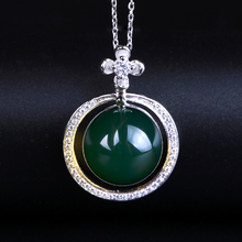 Robira Brand Unique Natural Blue Amber Color Instrument Necklaces & Pendants 925 Sterling Silver Chain Fashion Jewelry For Women(China)