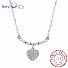 Solid 925 Sterling Silver Pendant Necklace Heart CZ Stone Wedding Jewelery Necklaces & Pendants For Women(JewelOra NE101851)