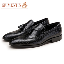 GRIMENTIN Brand crocodile grain mens loafers genuine leather comfortable luxury tassel Italian men party shoes(China)