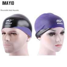 Imayio Reversible Swimming caps silicone Waterproof Hat Protect Ears Long Hair Sports Swim Pool professional Cap Men Women Adult(China)