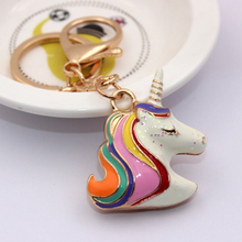 Original Charm 3D Unicorn Keychain Rainbow Color Animal Cute Horse Key Chain Holder Women Bag Hang Car Pendant Keyring trinket(China)