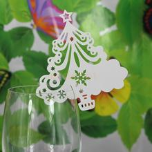 50pcs Ice White Christmas Tree Wine Glass Hollow Out Name Place Cards Party Dinner Feast Decor