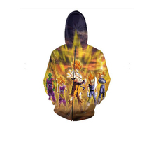 Goku Zip-Up Hoodie anime Dragon Ball Z Super Saiyan 3d Sweatshirts Women Men Tops Jumper Hoodies Outfits