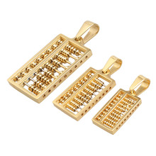 AMORUI Stainless Steel Abacus Pendant Necklace Gold/Silver Color Necklaces for Women/Men China Ancient Counting-frame Jewelry