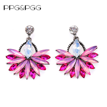 PPG&PGG 2017 New Colorful Flower Big Brand Design Luxury Starburst Pendant Crystal Gem Statement Stud Earrings Jewelry For Women