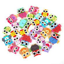 50Pcs/lot Multicolor 2 Holes Wholesale Natural Wood Sewing Button Owl Mixed for Sewing Accessories DIY Craft Scrapbooking Making