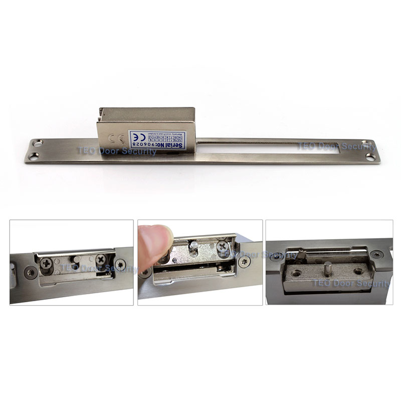 Adjust Lock-tongue to NO style European Narrow-type and Adjustable Electric Strike for Narrow Door Holding Force 500KG<br>