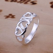 Wholesale 925 jewelry silver plated ring, 925 jewelry silver plated fashion jewelry, Three Kelp Ring SMTR090(China)