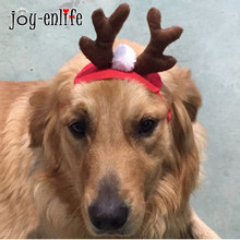 JOY-ENLIFE 1Pc Christmas Antlers Headbands Dog Cap Pet Cat Teddy Hat Cute Deer Elk Horn Headdress Xmas Costume Decorations