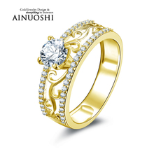 AINUOSHI 10k Solid Yellow Gold Women Wedding Ring Hollow Design Finger Band 5.5mm Round Cut Simulated Diamond Lover Promise Ring