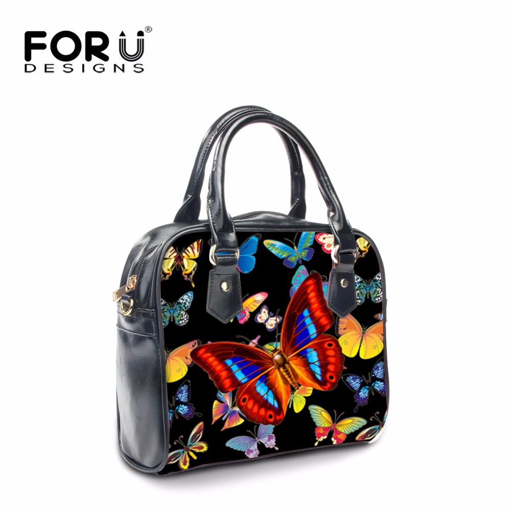 FORUDESIGNS Black Women Shoulder Bags 3D Butterfly Printed Flap Messenger Bag High Quality PU Small Clutch Handbags Big Capacity<br>