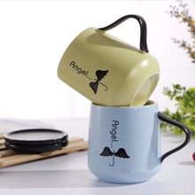 Promotion! Simple Ceramic Cups Mugs Creative Cute Milk Cups Coffee Cups With Covers for friend Gifts(China)