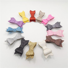 13pcs/lot Metallic Glitter Artificial Leather Bowknot Hair Clips Multi-color Fall Winter Bow Hair Grips Girl Festive Party Gifts
