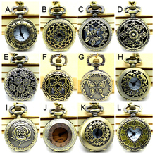 (APW005) Wholesale Vintage Bronze Small mixed 12 designs Pocket Watch Necklace, Victorian style watch pendant.party free gift.(China)