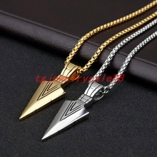 New Arrived Silver Gold Black Color Stainless Steel Arrowhead Pendant Necklace Men's Neck Necklace Jewelry Free Box Chain 24""