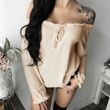 Buy Women Autumn Sexy Shoulder Top Shirt Tumblr 2018 Fashion Female Loose Long Sleeve Cropped Top Femme Plus Size for $11.89 in AliExpress store