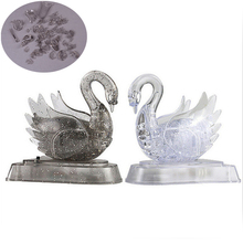 3D Crystal Puzzle Jigsaw Model DIY Swan IQ Toy Gift Souptoy Furnish Gadget DIY Kids Puzzles