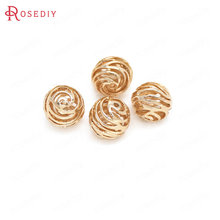6PCS 10MM 24K Champagne Gold Color Plated Brass Hollow Rose Flower Spacer Beads Bracelet Beads High Quality Jewelry Accessories(China)