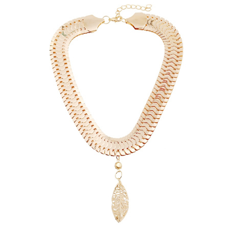 Fashion Women Metal Crystal Leaf Pendant Collar Choker Chain Necklace Jewelry