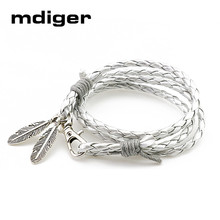 Mdiger Fashion Jewelry PU Leather Bracelets Charm Gift Bangles Multilayer Feather Bracelet Accessories Wedding Men Jewelry(China)
