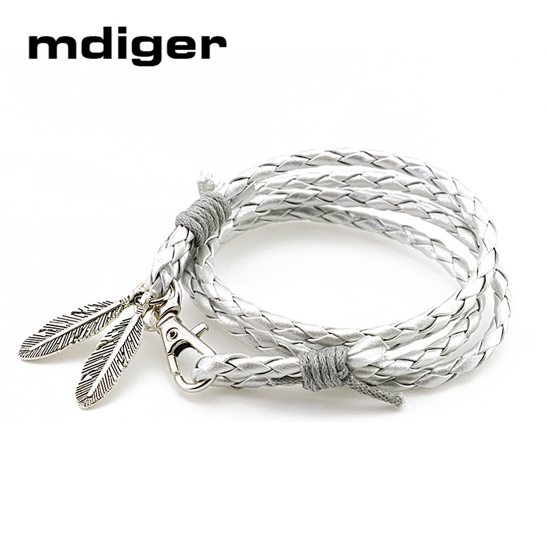 Mdiger Fashion Jewelry PU Leather Bracelets Charm Gift Bangles Multilayer Feather Bracelet Accessories Wedding Men Jewelry(China (Mainland))
