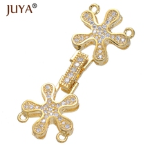 Diy Jewelry Findings High Quality Copper CZ Rhinestone Flower Clasps for DIY Pearls / Beaded Layers Chain Jewellery Accessories