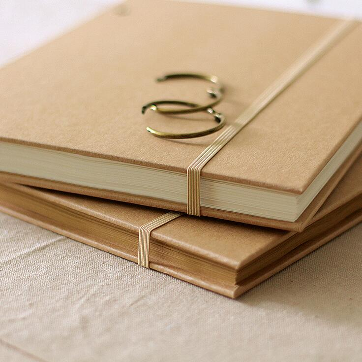 Vintage Kraft fashion A4 band coil notebook DIY thick sketchbook 80P big size notebook blank sheets students office supplies<br>