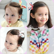 1 PC 4 Colors New 2016 Handmade Plaid Rabbit Ear Kids Accessories Children Accessories Baby Girl Hair Clip