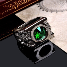 New Fashion Crystal Green Lantern Ring Super Hero Power Party Rings For Men Jewelry KQS