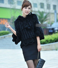 Fashion Real Rabbit Fur Shawl Women Casual Poncho Knitted Fur Wrap with Falbala Trimming Black & Grey Available AU00077