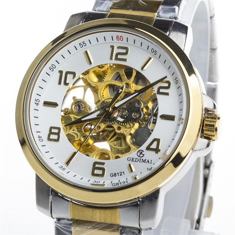 KINYUED Skeleton Automatic Watch Men Waterproof Mechanical Watches Mens Self Winding Horloges Mannen Relogio Masculino <br>