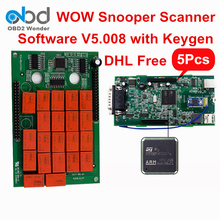 5 Pcs/Lot DHL Free Wow Snooper Bluetooth TCS CDP Pro Diagnostic Interface Snooper Software V5.008 Free Activate For Car Truck