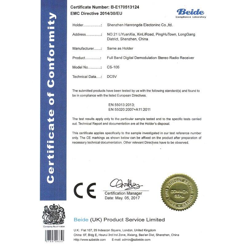 106 CE certification