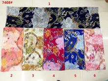 150cm width printed soft chiffon fabric flowers pattern for scarf and headband LS-J7408