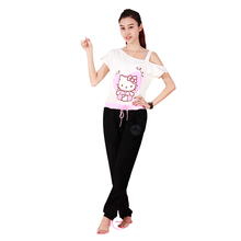Women's Hello Kitty Yoga Set Comfortable Gym Workout Clothing Sports Running Dancing Fitness Suit Sportswear HGF43661(China)