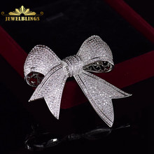 Bling Micro Pave CZ Victorian Ribbon Bow Brooches Silver Tone Full Tinny Clear CZ Pave Antique Bowtie Pins Edwardian Jewelry(China)