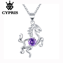 Hot   Promotion   silver   Fashion Nice  Horse Pendant Necklace 18inch with stone crystal  Wholesale CYPRIS jewelry