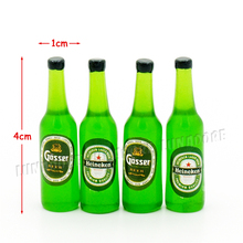 Odoria 1:12 Miniature Food 4PCS Green Beer Bottle Beverage Filling Soft Drinks Dollhouse Kitchen Accessories(China)
