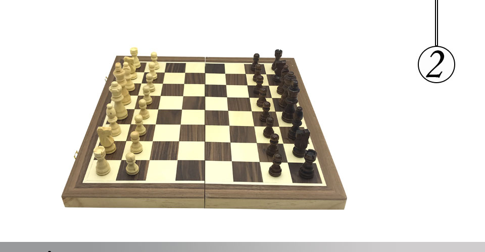 Easytoday Magnetic Folding Chess Games Set Wooden Chessboard Solid Wood Chess Pieces High-quality Table Entertainment Games Gift (2)