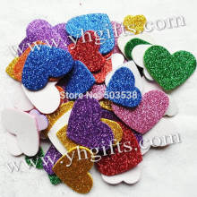 50PCS(1bag)/LOT.Mixed size glitter foam heart stickers,Foam adhesive stickers,Wall sticker,Kids room ornament.Spring crafts(China)