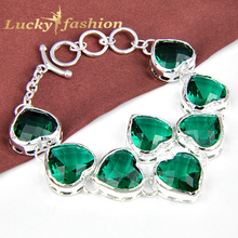 Best sale ! Fashion New style exquisite heart Bracelet Bangle Green Created Crystal charm bangle --Lady shop